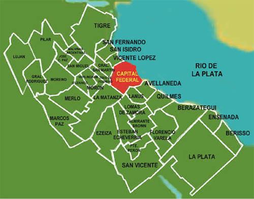 Mapa del Conurbano de Buenos Aires, Argentina