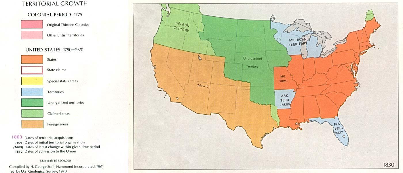 Mapa del Crecimiento Territorial de Estados Unidos  1830