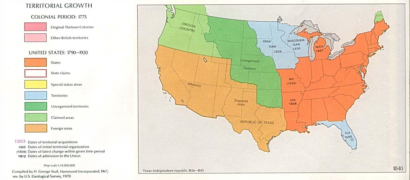 Mapa del Crecimiento Territorial de Estados Unidos  1840