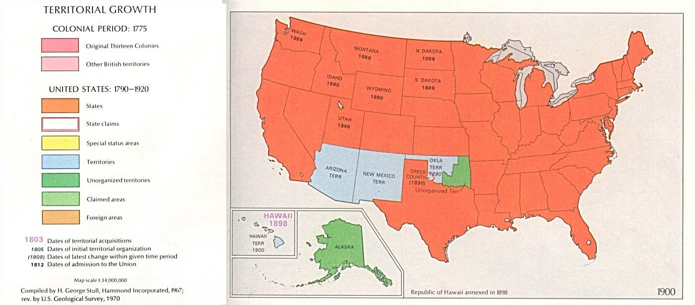Mapa del Crecimiento Territorial de Estados Unidos  1900