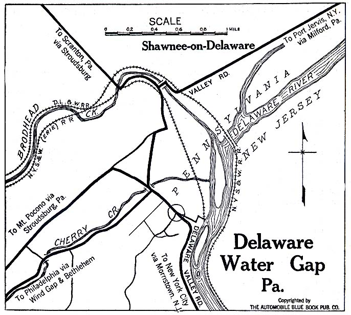 Delaware Water Gap Map, Pennsylvania, United States 1920