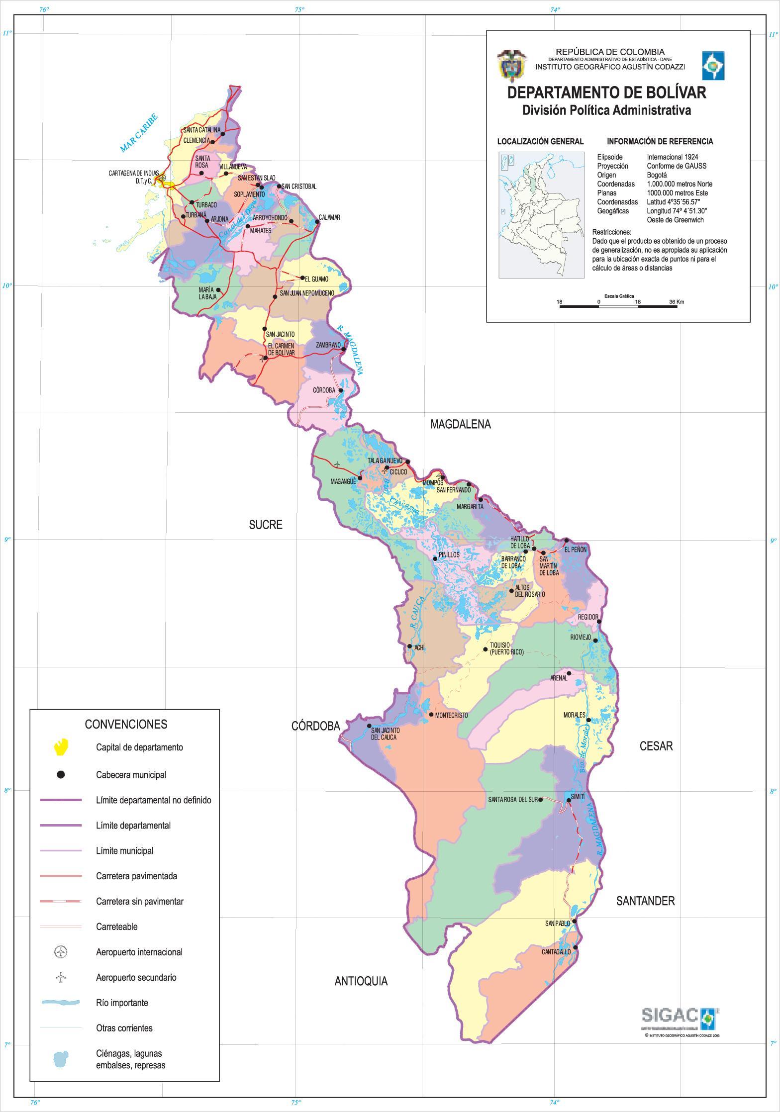 Mapa del Departamento de Bolívar, Colombia