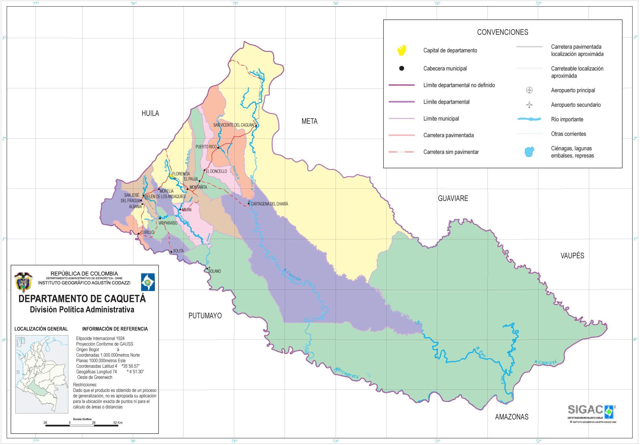 Mapa del Departamento de Caquetá, Colombia