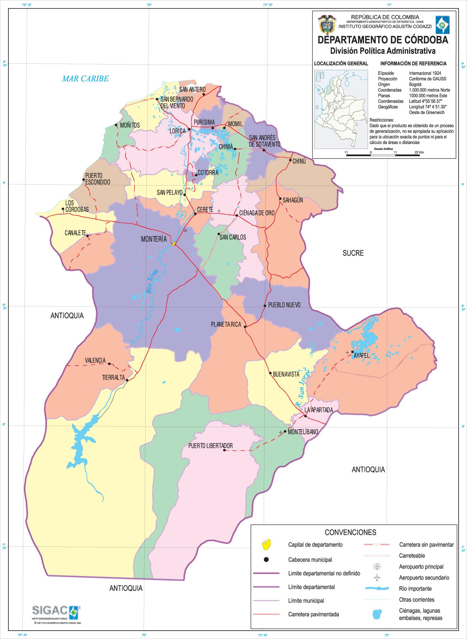 Córdoba Department Map, Colombia