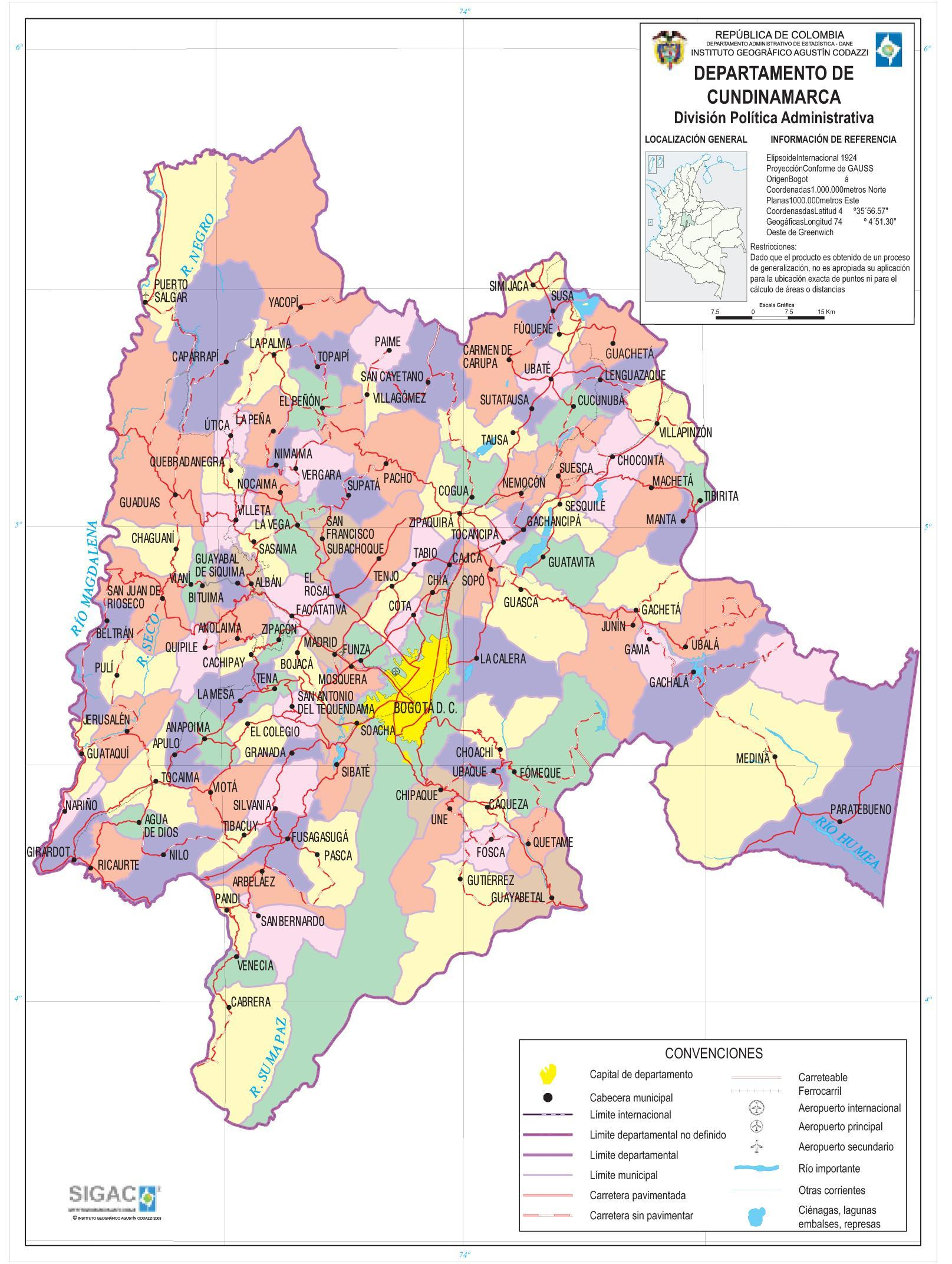Cundinamarca Department Map, Colombia