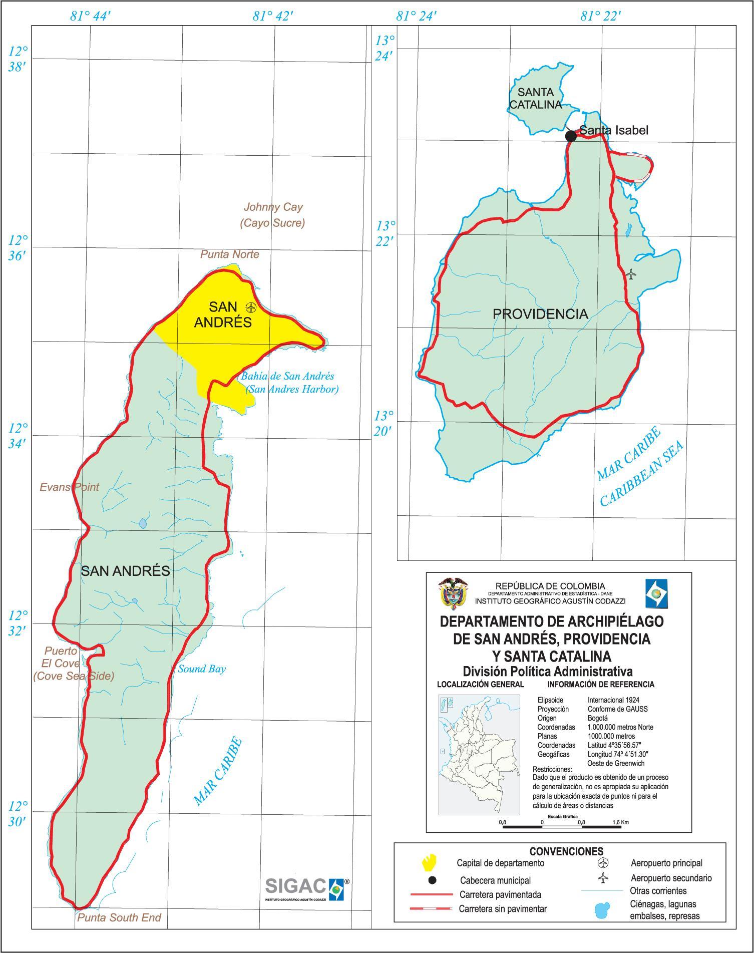 Mapa del Departamento de San Andrés y Providencia, Colombia