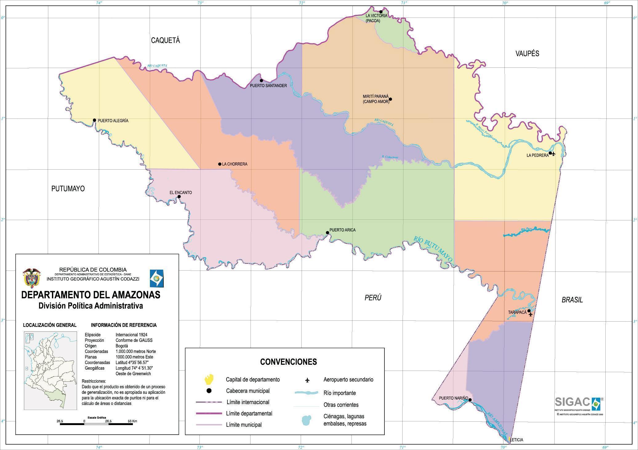 Mapa del Departamento del Amazonas, Colombia