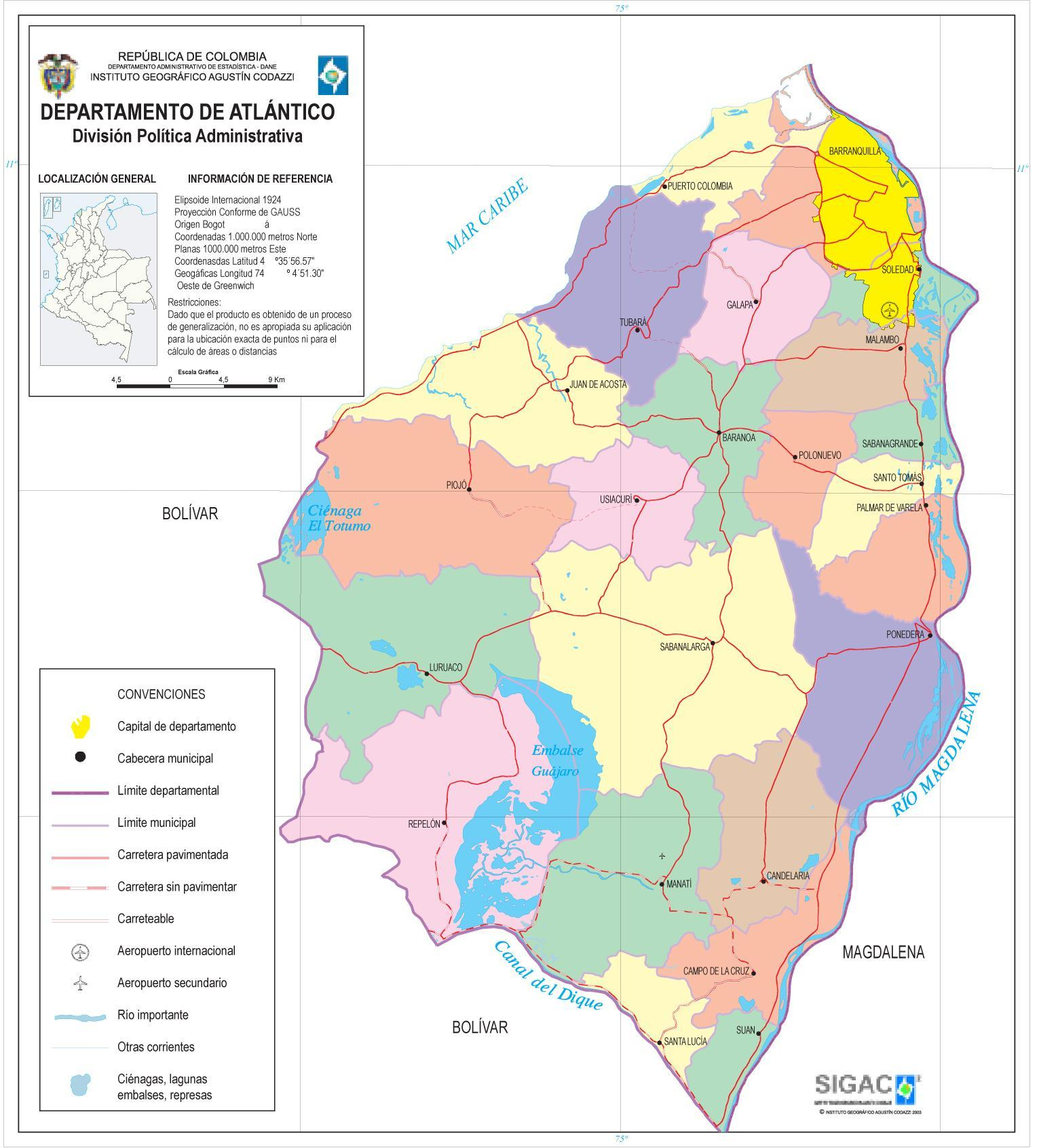 Atlántico Department Map, Colombia