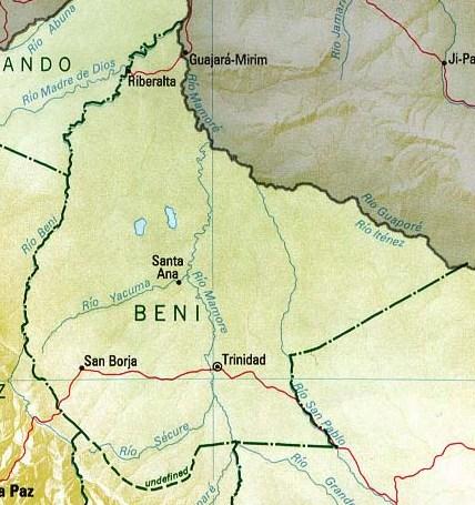 Beni Department Map, Bolivia