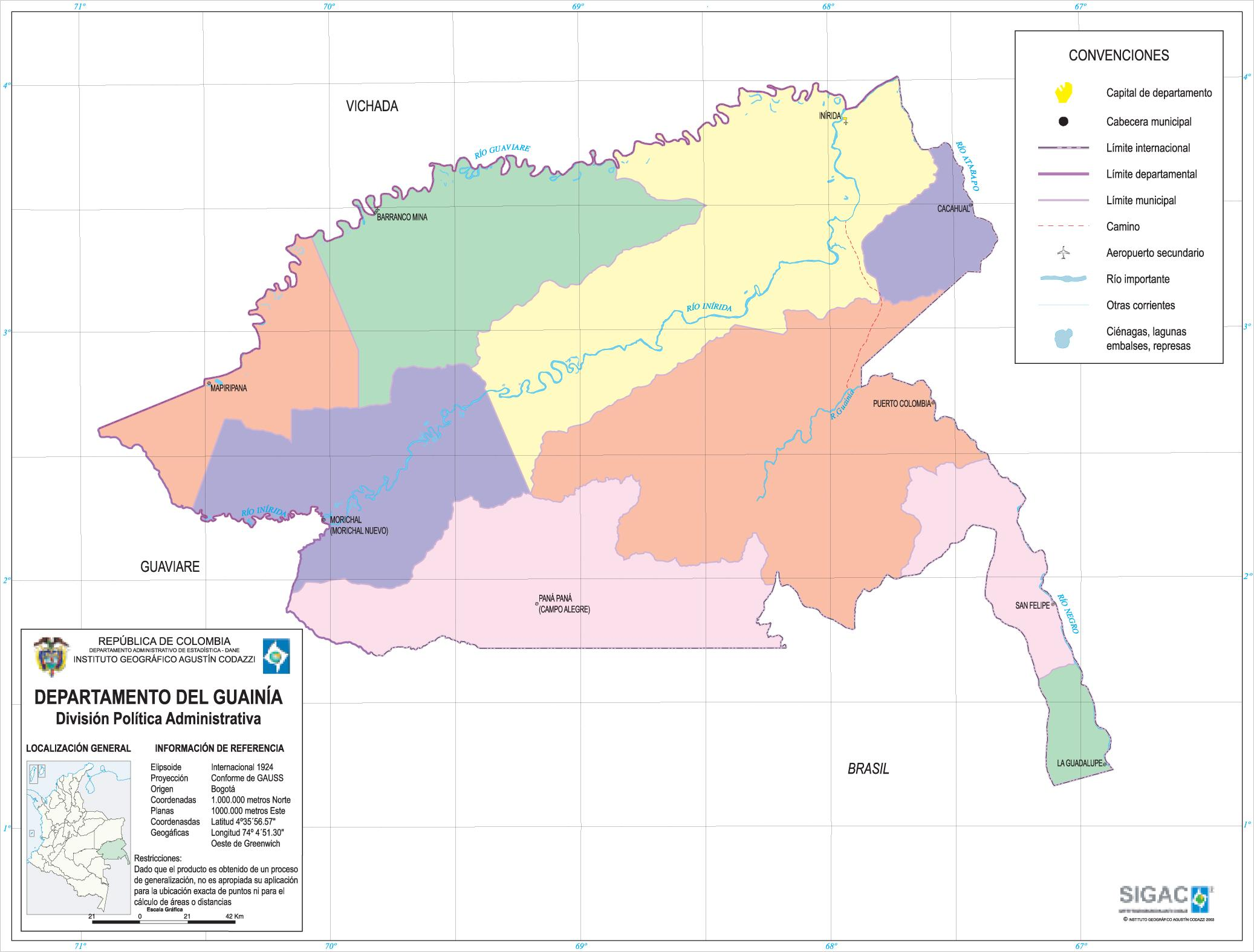 Guainía Department Map, Colombia