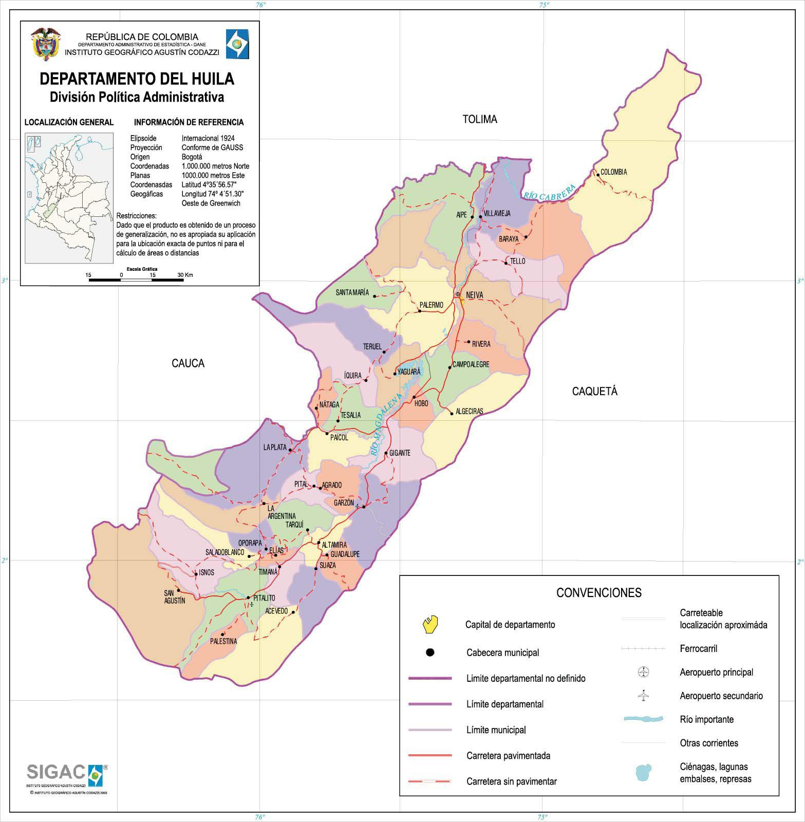 Huila Department Map, Colombia