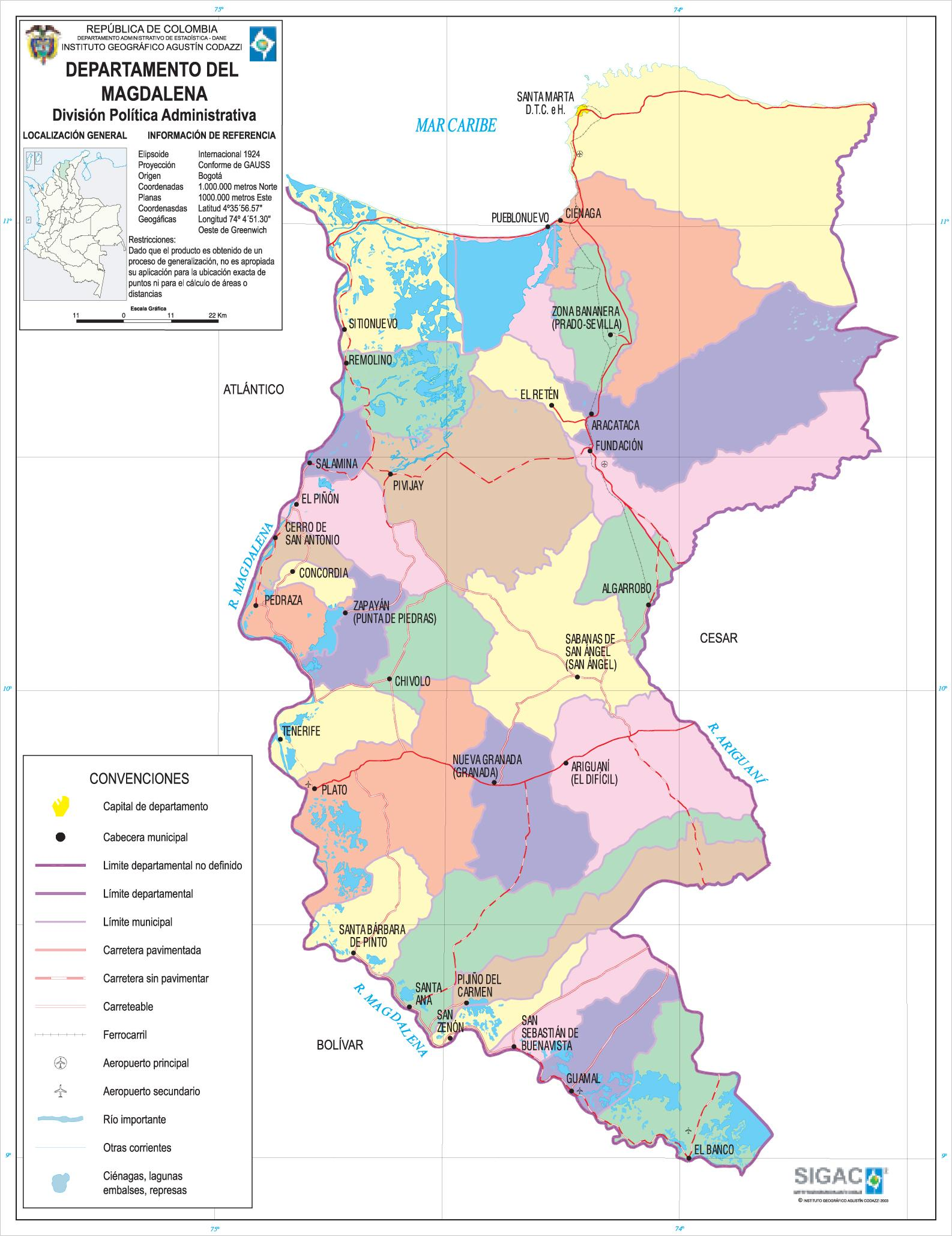 Magdalena Department Map, Colombia