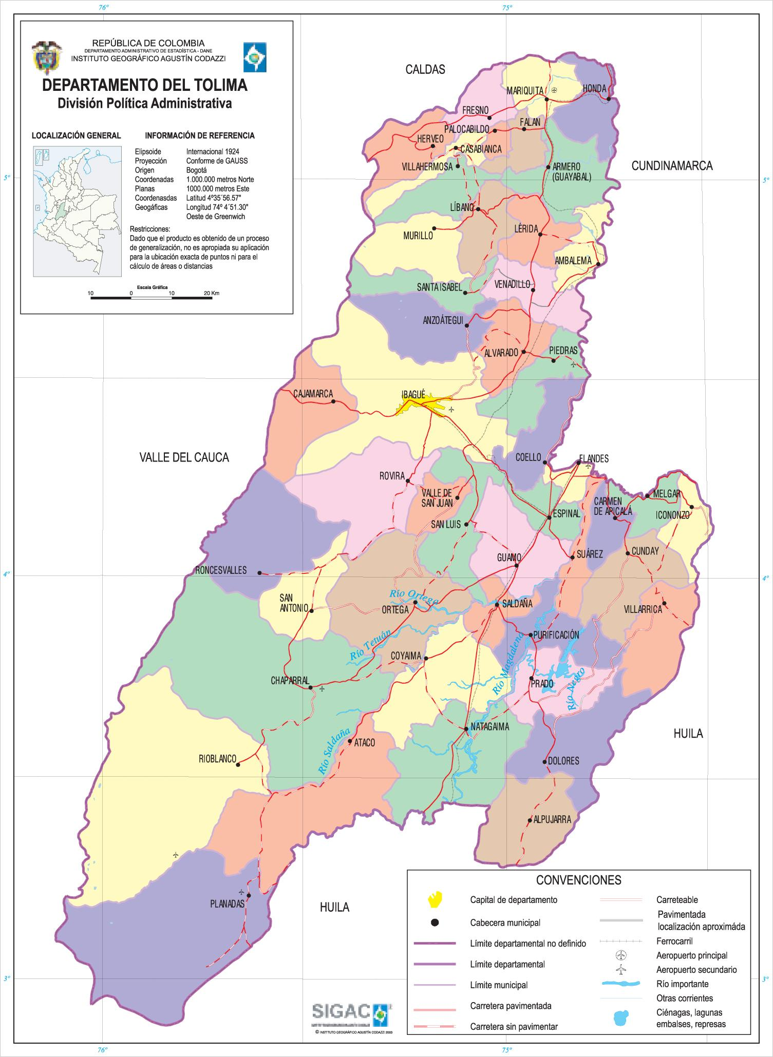 Tolima Department Map, Colombia