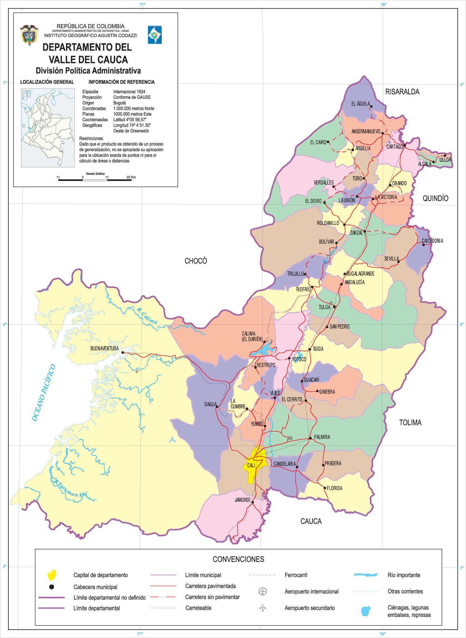 Valle del Cauca Department Map, Colombia