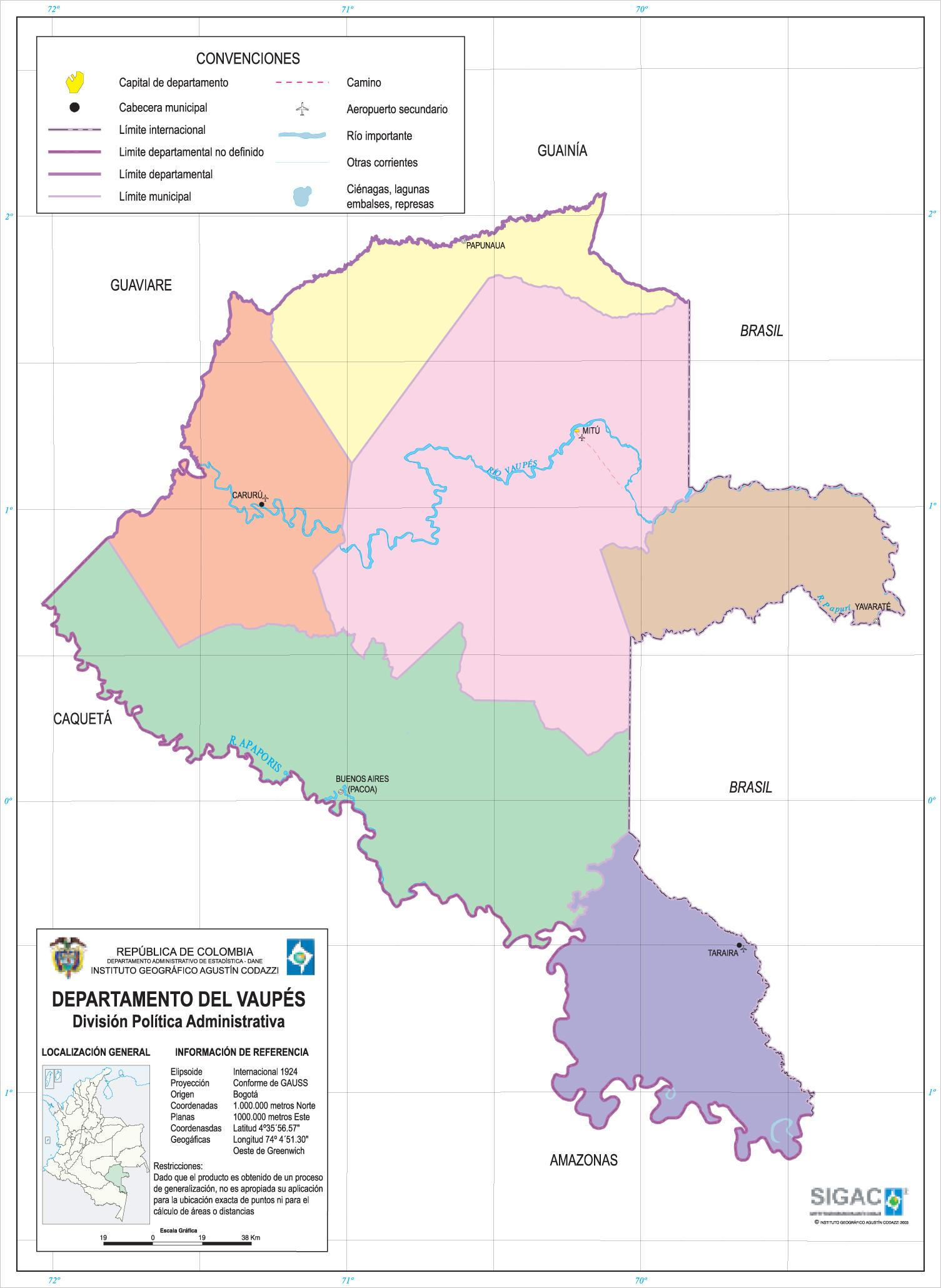Mapa del Departamento del Vaupés, Colombia