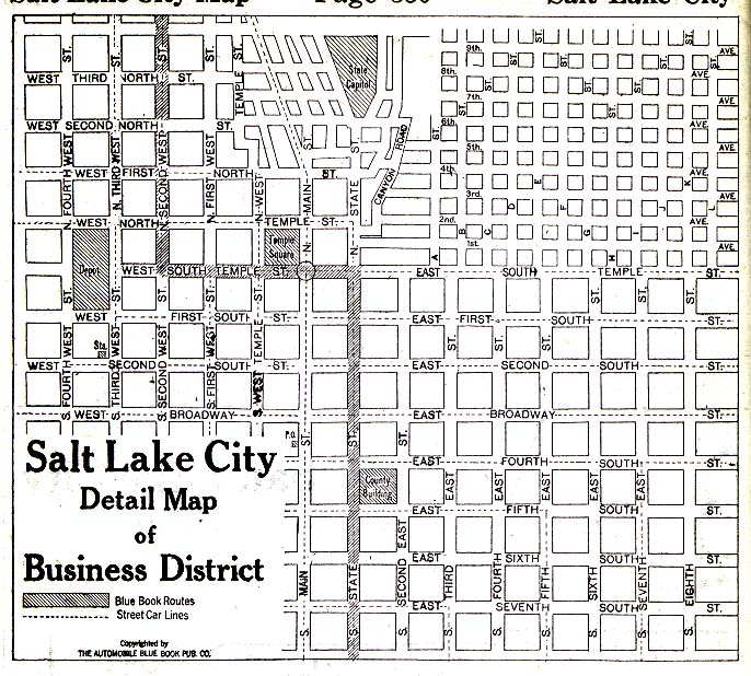 Salt Lake City Business District Map, Utah, United States 1920