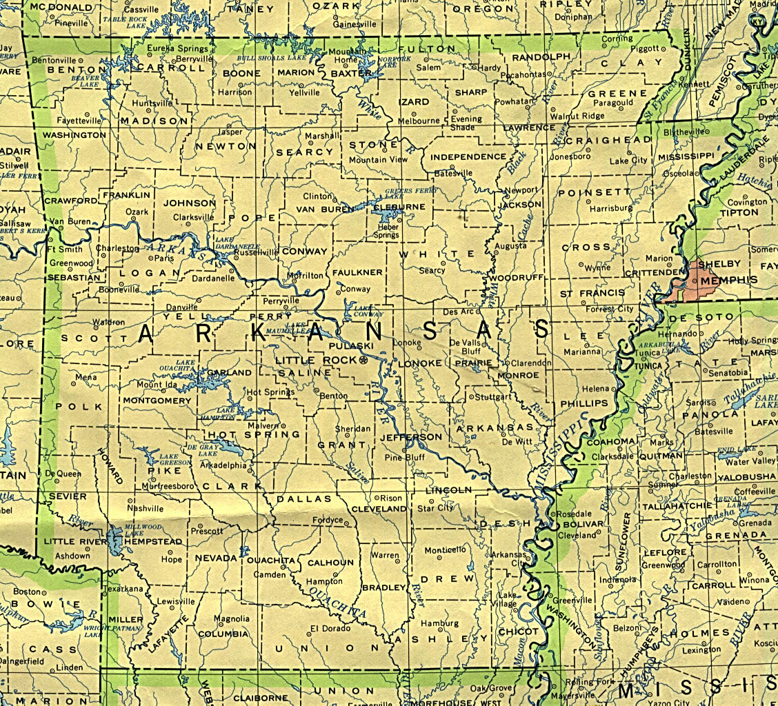 Arkansas State Map, United States
