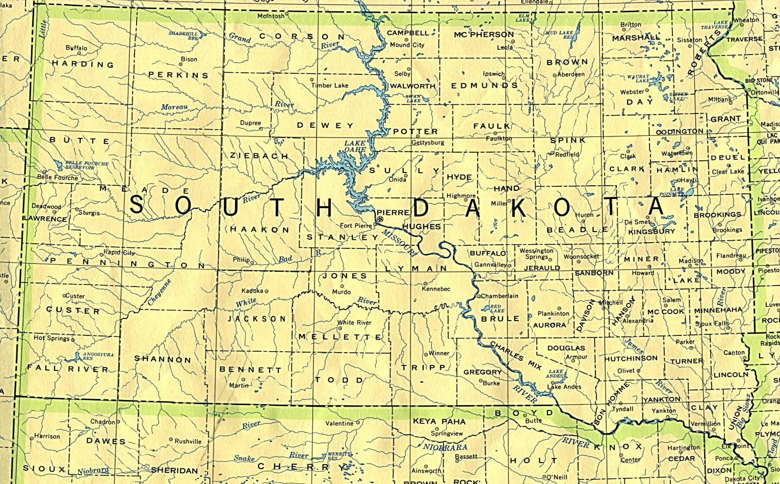 South Dakota State Map, United States
