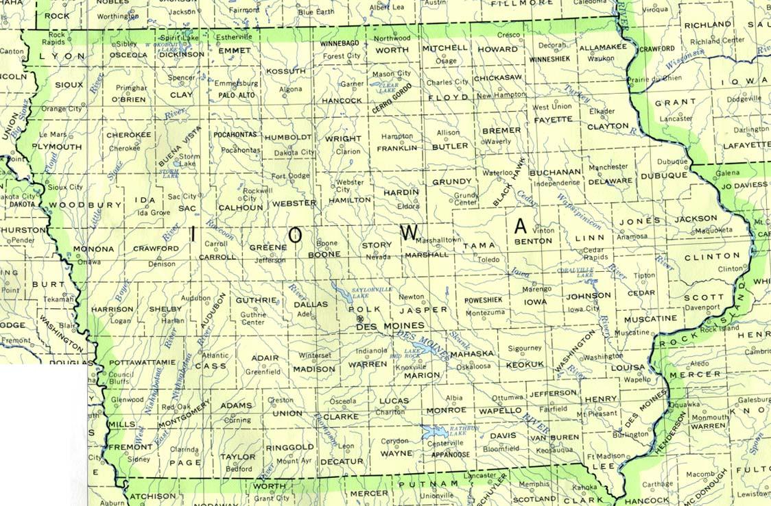 Mapa del Estado de Iowa, Estados Unidos