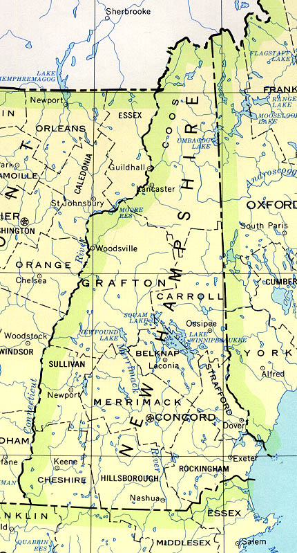 Mapa del Estado de Nuevo Hampshire, Estados Unidos