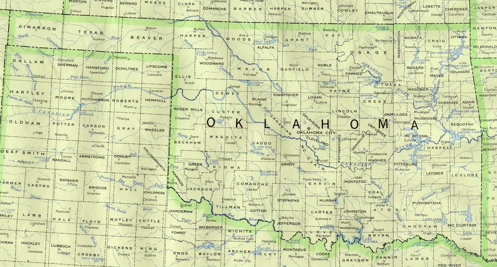 Map of Oklahoma State Map, United States