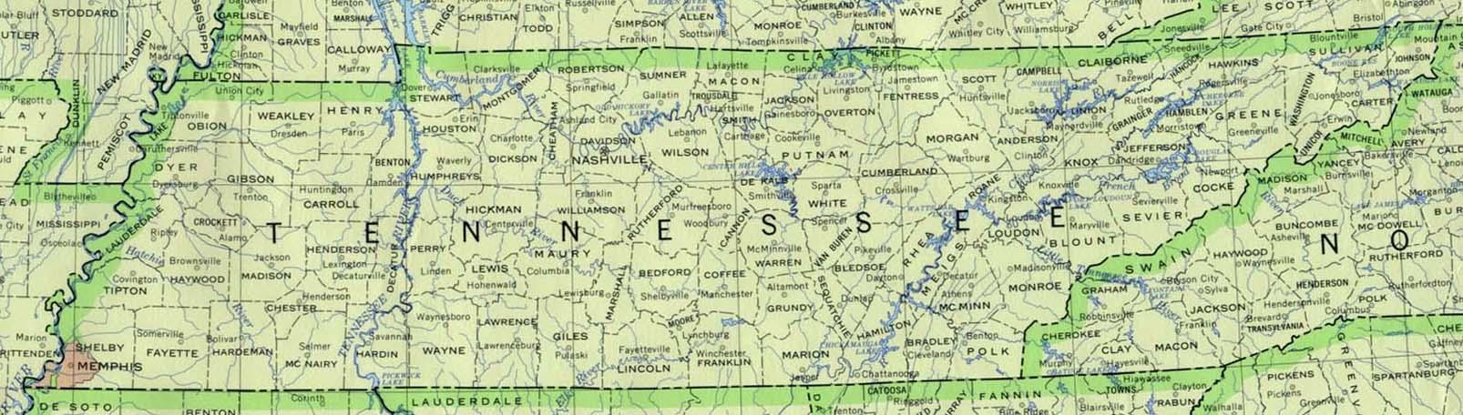 Mapa del Estado de Tennessee, Estados Unidos