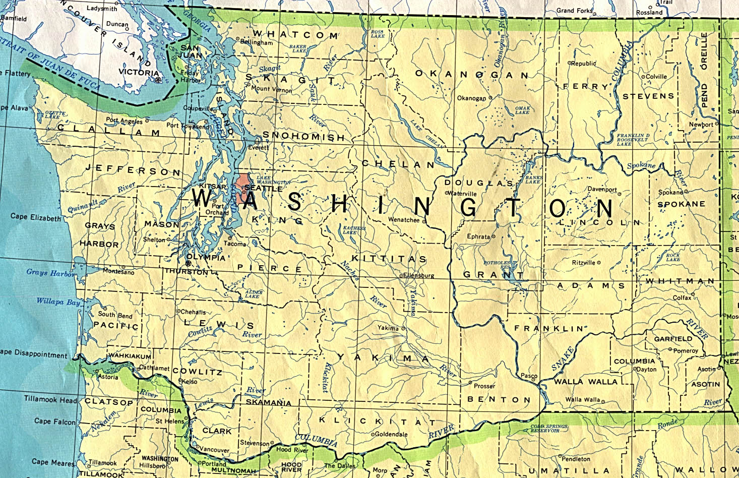 Maps of Washington State Map, United States - mapa.owje.com