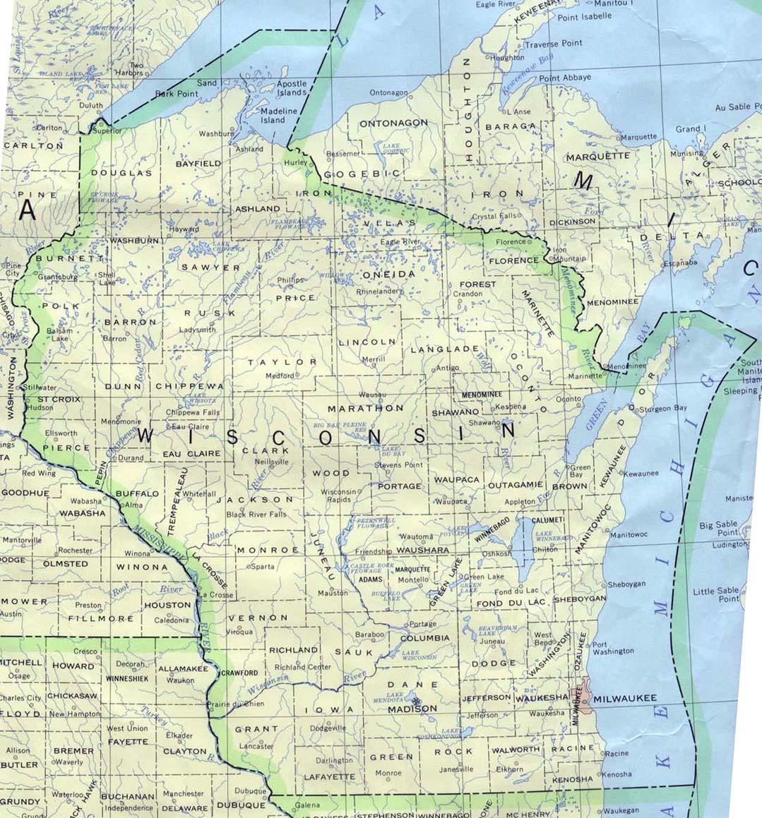 Mapa del Estado de Wisconsin, Estados Unidos