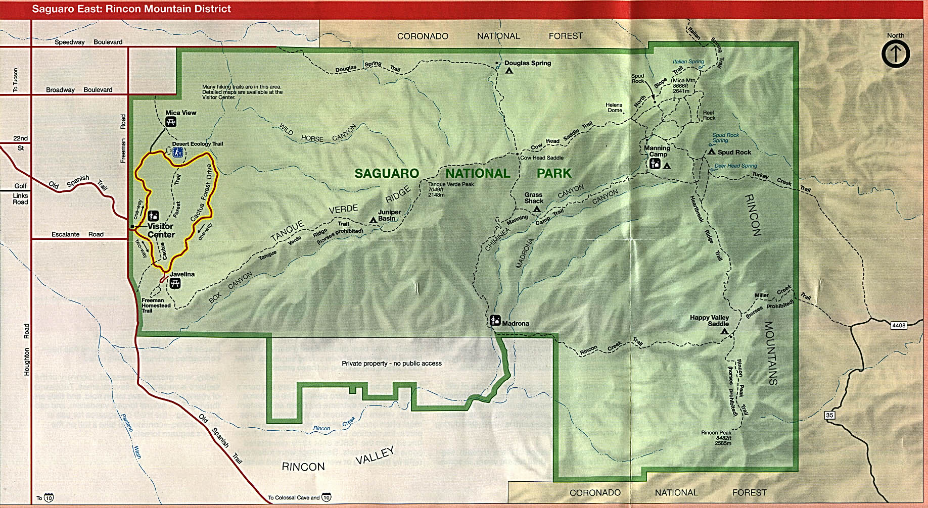 Eastern Saguaro National Park Map, Rincon Mountain District, Arizona, United States