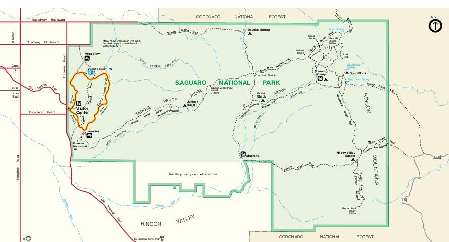 Mapa del Este del Parque Nacional Saguaro, Distrito Rincon Mountain, Arizona, Estados Unidos
