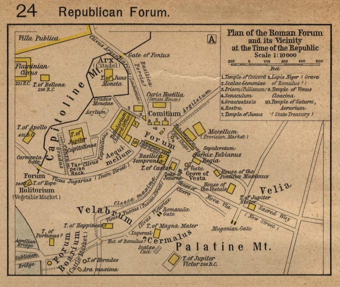 Map of Roman Forum and its Vicinity at the Time of the Republic