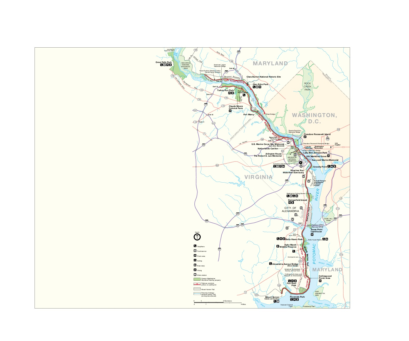 Mapa del George Washington Memorial Parkway, Maryland, Virginia, Washington D.Circa, Estados Unidos