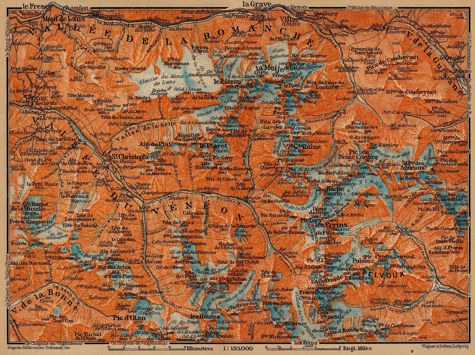 Mapa del Grupo Pelvoux, Francia 1914
