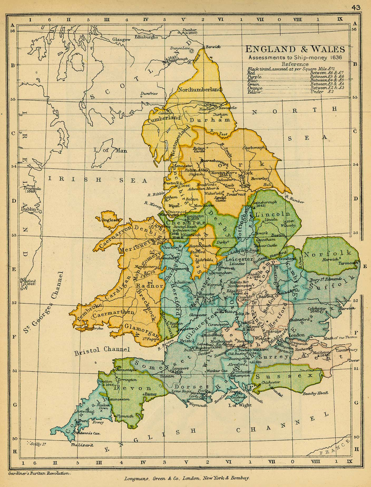 Map of Assessments to Ship-money, England and Wales 1636