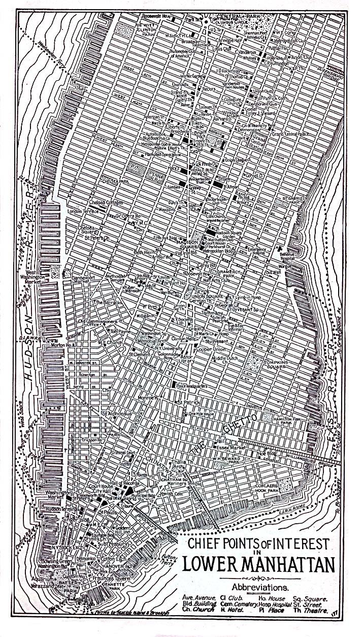 Mapa del Lower Manhattan, Ciudad de Nueva York, Nueva York, Estados Unidos 1920