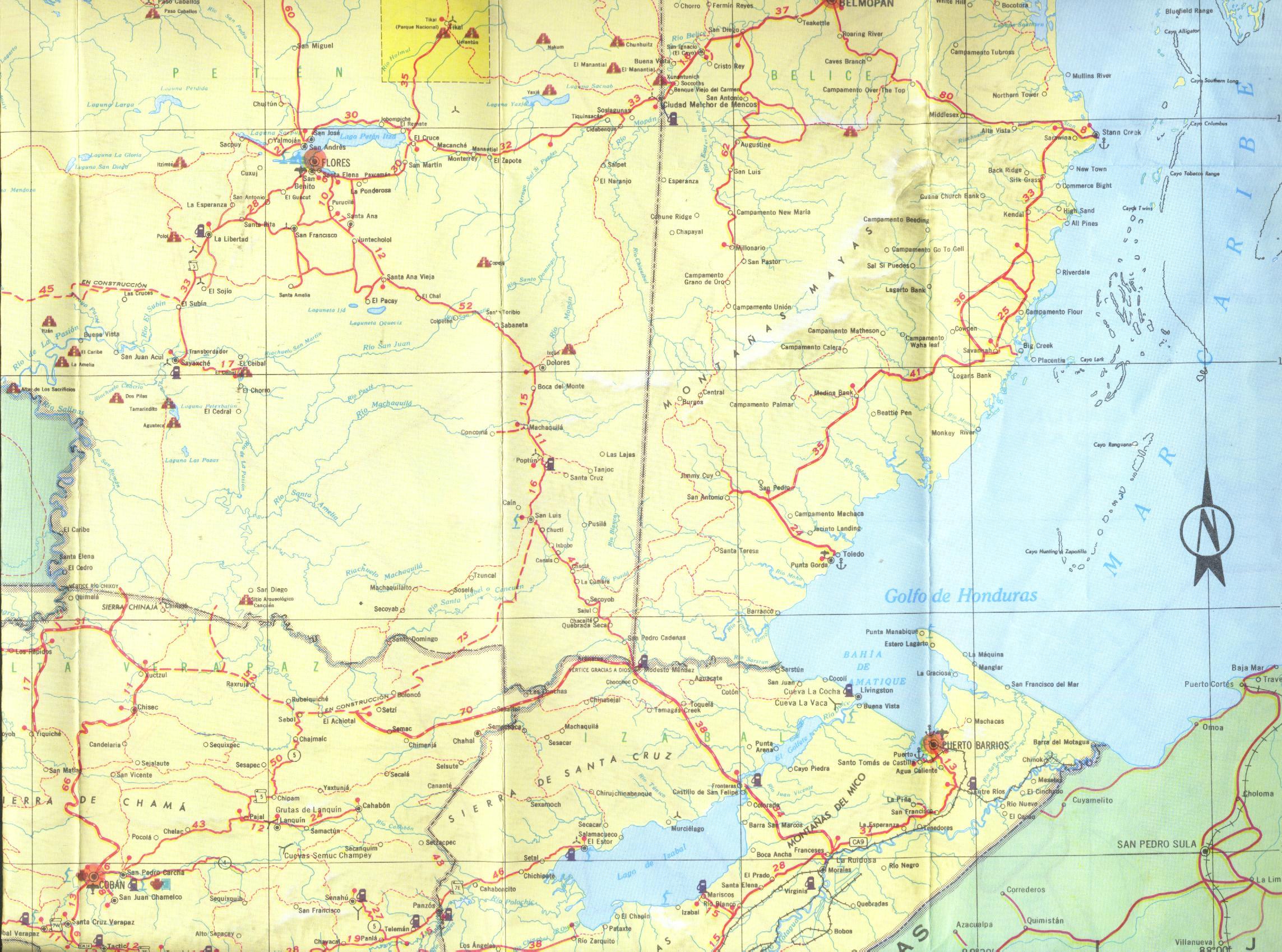 Mapa del Norte Central de Guatemala