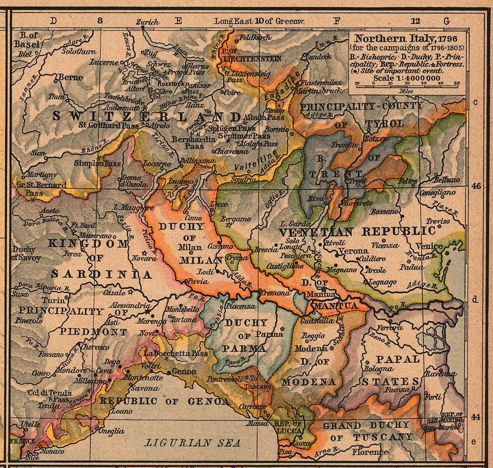 Mapa del Norte Italia, 1796 (Campañas de 1796-1805)