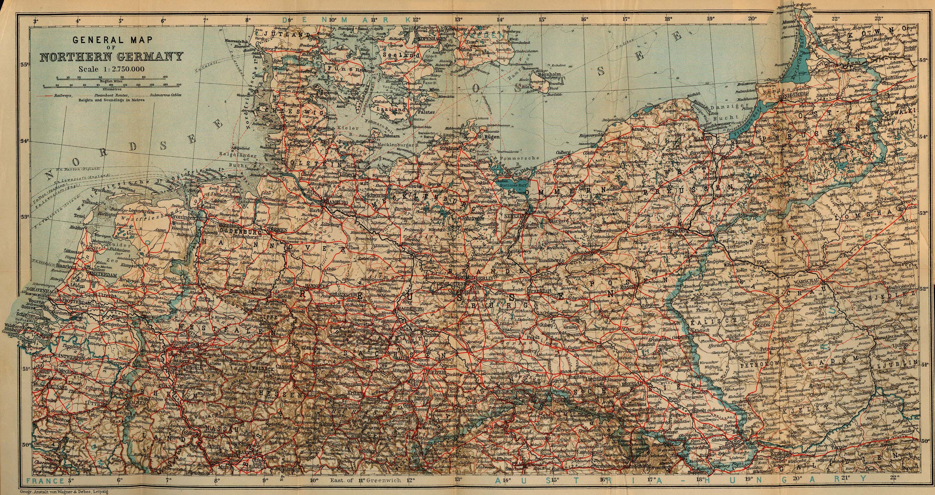 Northern Germany Map 1910