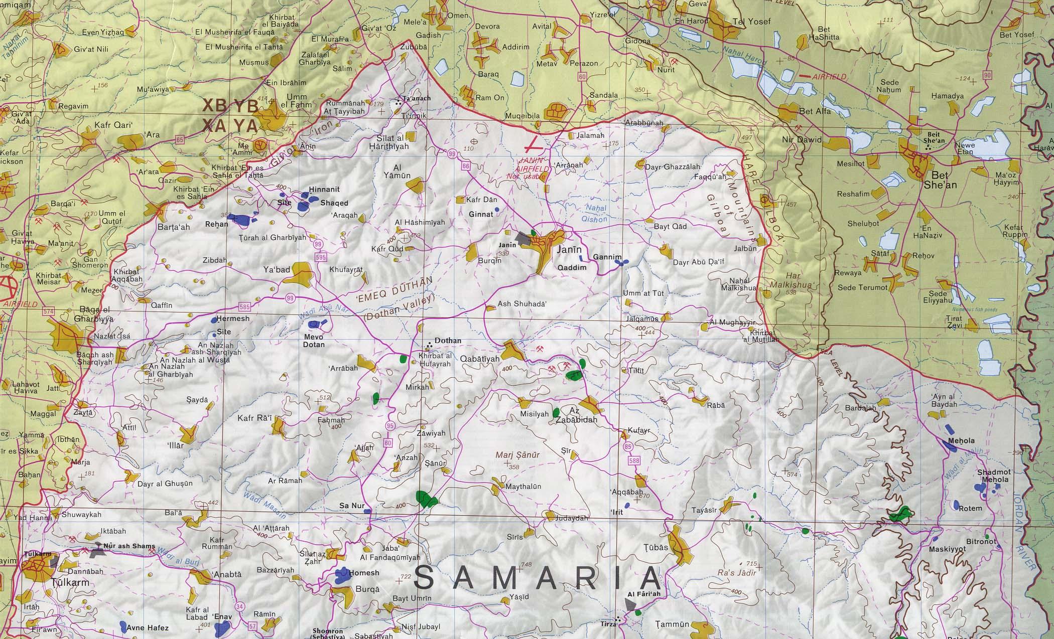 Mapa del Norte de Cisjordania (Norte de Nablus)
