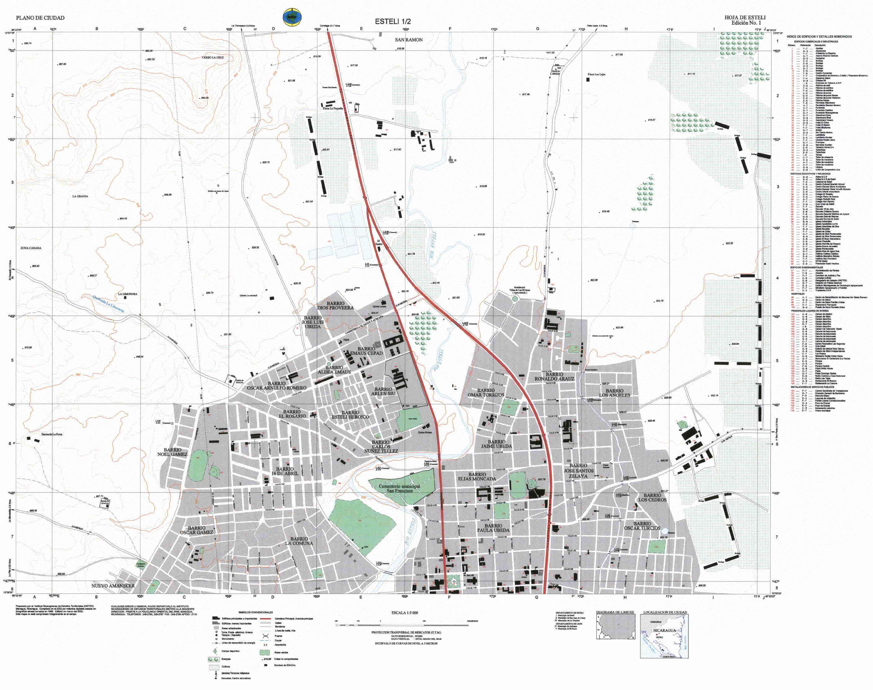 Mapa del Norte de la Ciudad de Esteli, Nicaragua