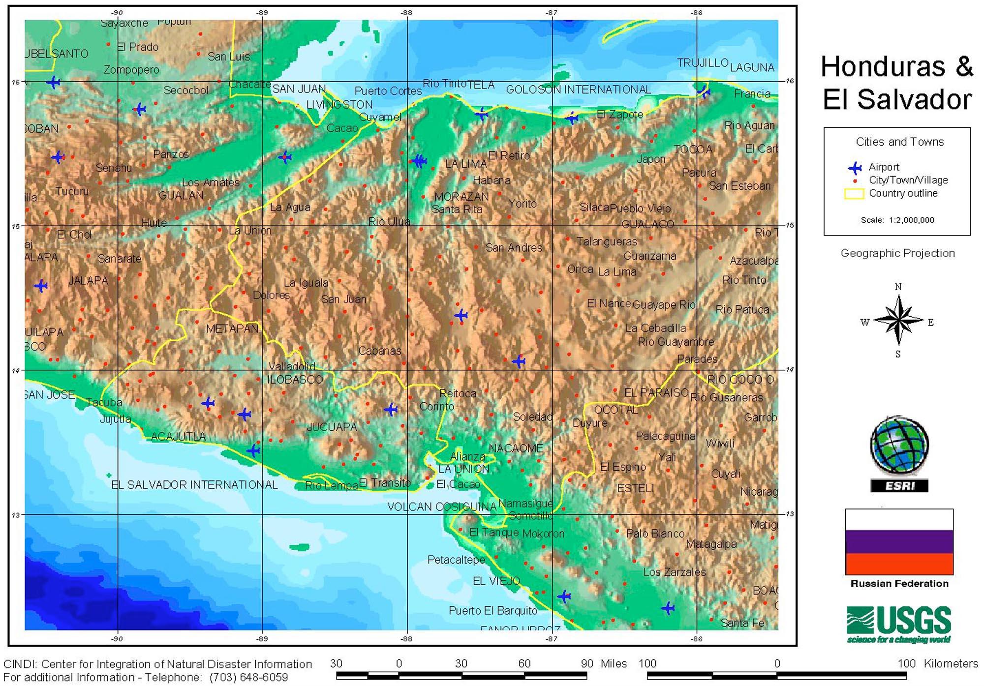 Mapa del Oeste de Honduras
