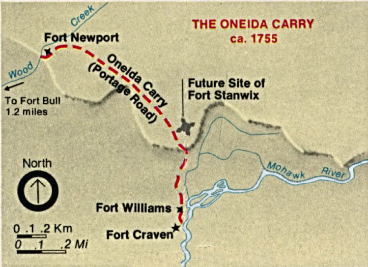 The Oneida Carry (Portage Route) Map, United States 1755