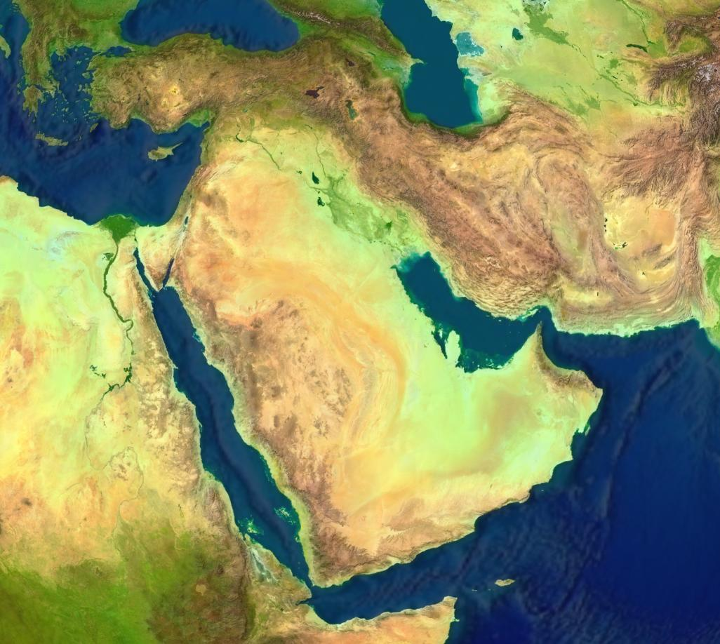 Middle East satellite map