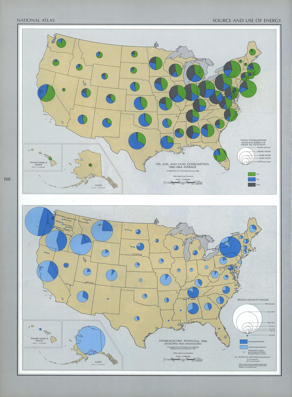Mapa del Origen y Uso de Energía de los Estados Unidos