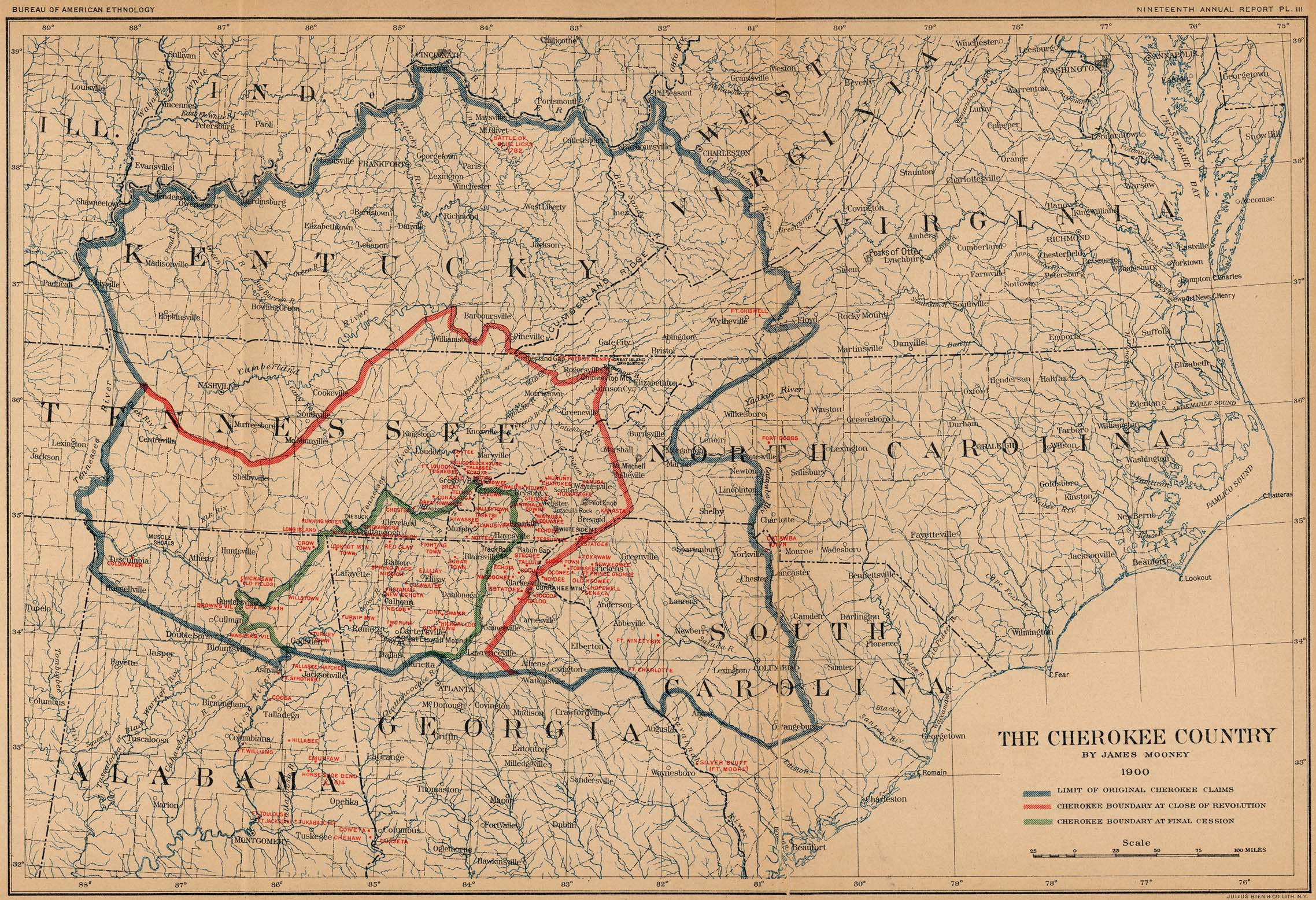 Map of the Cherokee Country 1897 -  98