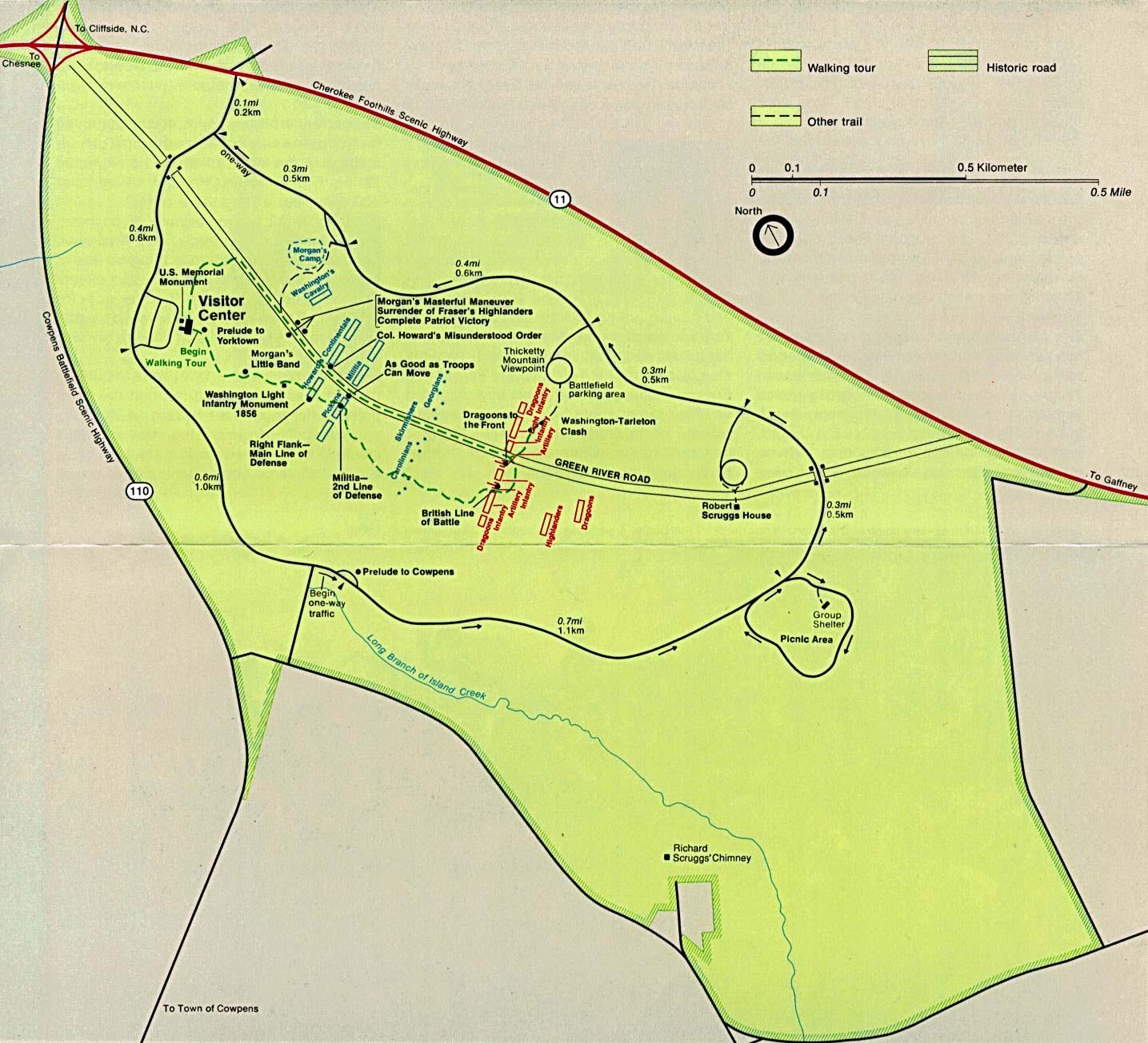 Mapa del Parque Campo de Batalla Nacional Cowpens, Carolina del Sur, Estados Unidos