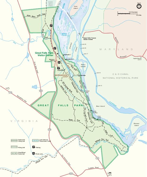 Mapa del Parque Great Falls, Virginia, Estados Unidos