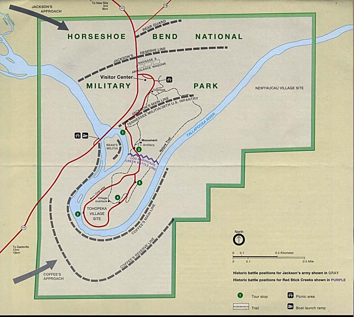 Mapa del Parque Militar Nacional Horseshoe Bend, Alabama, Estados Unidos