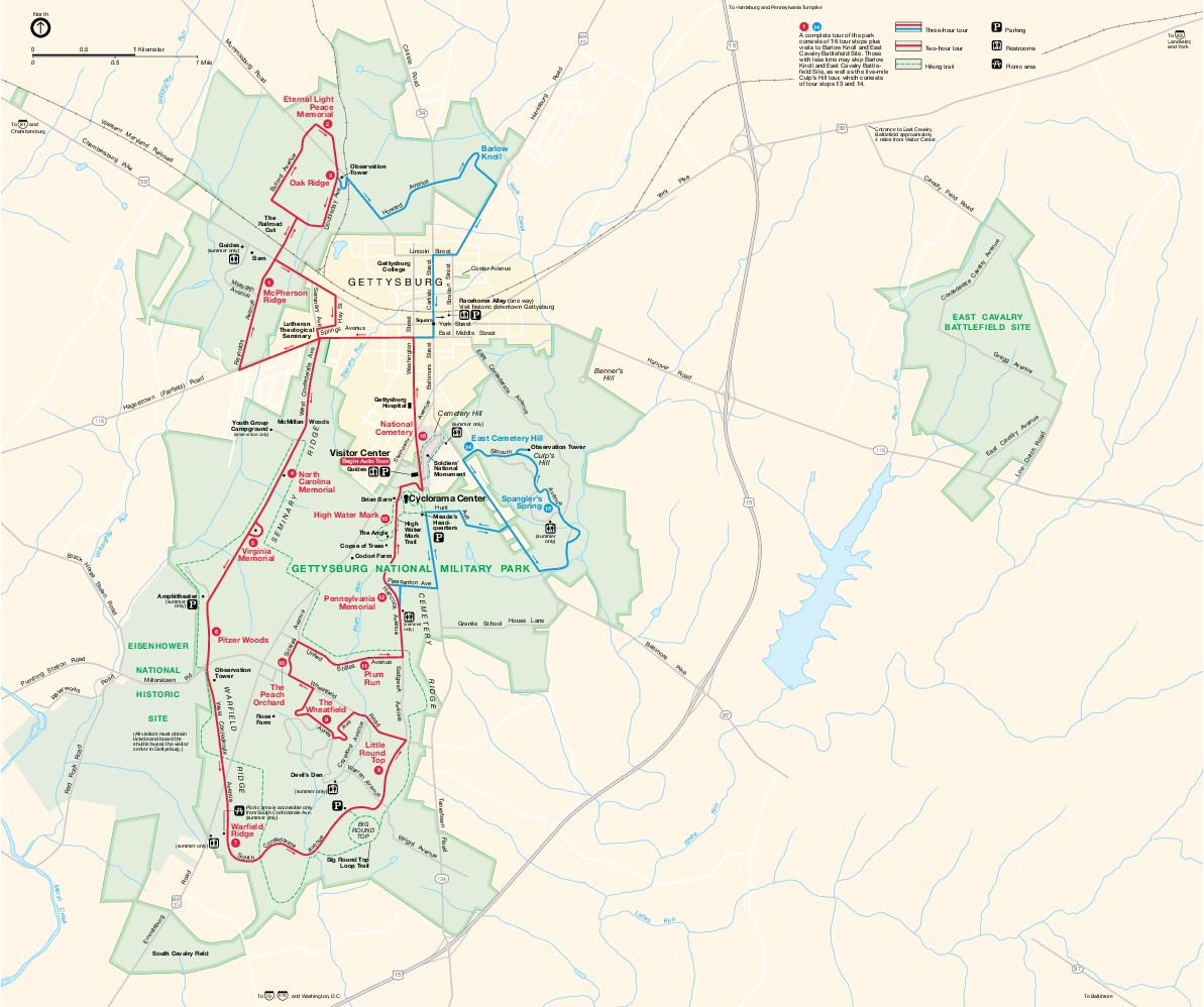Gettysburg National Military Park Map, Pennsylvania, United States