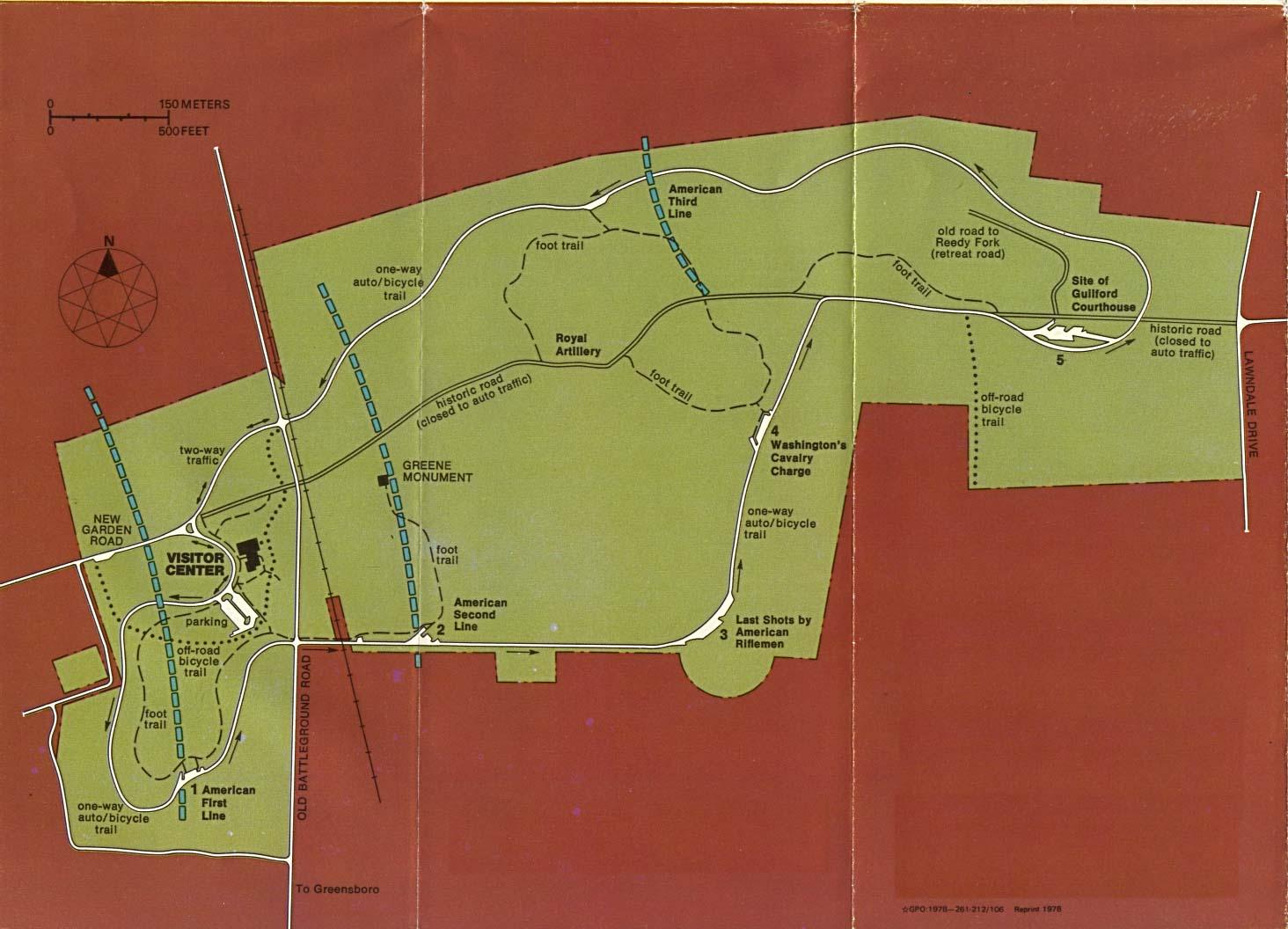 Mapa del Parque Militar Nacional de Guilford Courthouse, Carolina del Norte, Estados Unidos